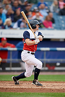 Syracuse Chiefs left fielder Andrew Stevenson (2) follows through on a swing during a game against the Scranton/Wilkes-Barre RailRiders on June 14, 2018 at NBT Bank Stadium in Syracuse, New York.  Scranton/Wilkes-Barre defeated Syracuse 9-5.  (Mike Janes/Four Seam Images)