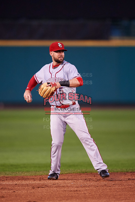 Syracuse Chiefs shortstop Jason Martinson (5) warmup throw to first during a game against the Rochester Red Wings on July 1, 2016 at Frontier Field in Rochester, New York.  Rochester defeated Syracuse 5-3.  (Mike Janes/Four Seam Images)