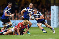 Sam Underhill of Bath Rugby in possession. Gallagher Premiership match, between Bath Rugby and Gloucester Rugby on September 8, 2018 at the Recreation Ground in Bath, England. Photo by: Patrick Khachfe / Onside Images