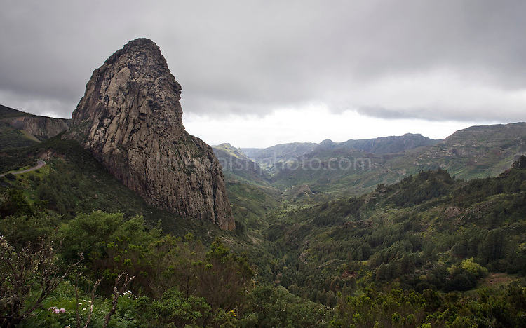 Roque de Agando, one of Los Roques - Phonolite past volcanic vents in Garajonay National Park, La Gomera, Canary Islands