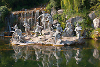 The Diana and Actaeon Fountain at the feet of the Grand Cascade. The Kings of Naples Royal Palace of Caserta, Italy. A UNESCO World Heritage Site