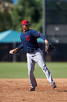 Cleveland Indians Grofi Cruz (15) during an instructional league game against the Milwaukee Brewers on October 8, 2015 at the Maryvale Baseball Complex in Maryvale, Arizona.  (Mike Janes/Four Seam Images)