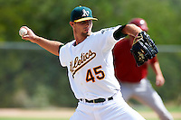 Oakland Athletics minor league pitcher Blake Hassebrock #45 during an instructional league game against the Arizona Diamondbacks at the Papago Park Baseball Complex on October 11, 2012 in Phoenix, Arizona. (Mike Janes/Four Seam Images)