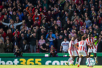 Celebrations as Eric Maxim Choupo-Moting (10) of Stoke City scores to make it 1 0 during the Premier League match between Stoke City and Manchester United at the Britannia Stadium, Stoke-on-Trent, England on 9 September 2017. Photo by Andy Rowland.
