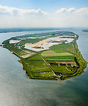Nederland, Zuid-Holland, Tiengemeten 10-06-2015; oostelijk deel van het eiland Tiengemeten met zorgboerderij en camping.<br /> Oorspronkelijk gebruikt voor de akkerbouw maar inmiddels 'teruggegeven aan de natuur', de dijken zijn deels doorgestoken, de laatste boer is in 2006 vertrokken. De 'nieuwe natuur' vormt onderdeel van de Ecologische Hoofdstructuur. <br /> The island Tiengemeten in the Haringvliet, was originally used for agriculture but has now &quot;been given back to nature&quot;. Large parts have been flooded and the isle is part of the National Ecological Network. The last farmer left in 2006. Current use, among other, care farms and camping.<br /> luchtfoto (toeslag op standard tarieven);<br /> aerial photo (additional fee required);<br /> copyright foto/photo Siebe Swart