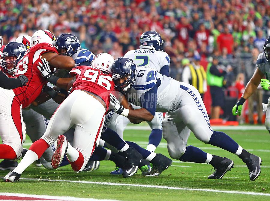 Jan 3, 2016; Glendale, AZ, USA; Seattle Seahawks center Lemuel Jeanpierre (61) against the Arizona Cardinals at University of Phoenix Stadium. Mandatory Credit: Mark J. Rebilas-USA TODAY Sports