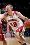 MADISON, WI - OCTOBER 24: Forward Kevin Gullickson #43 of the Wisconsin Badgers handles the ball during the red/white scrimmage at the Kohl Center on October 24, 2006 in Madison, Wisconsin. The White team defeated the Red team 72-69. (Photo by David Stluka)