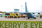 EMERGENCY: The scene at Kerry Airport on Wednesday morning when an Air Corps plane was forced to make an emergency landing after smoke was detected in its cockpit..
