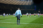 The additional assistant referee from Belarus on duty as Hertha Berlin take on Sporting Lisbon in the Olympic Stadium in Berlin in a UEFA Europa League group match. Hertha won the match by 1 goal to nil to press to the knock-out round of the cup. 2009/10 was the the first year in which the Europa League replaced the UEFA Cup in European football competition.
