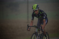 Be&ntilde;at Intxausti (ESP/Movistar) battling the elements on his own<br /> <br /> 2014 Tour de France<br /> stage 19: Maubourguet - Bergerac (208km)
