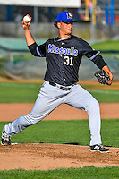 Missoula Osprey starting pitcher Chester Pimentel (31) delivers a pitch to the plate against the Ogden Raptors in Pioneer League action at Lindquist Field on July 14, 2016 in Ogden, Utah. Ogden defeated Missoula 10-4. (Stephen Smith/Four Seam Images)
