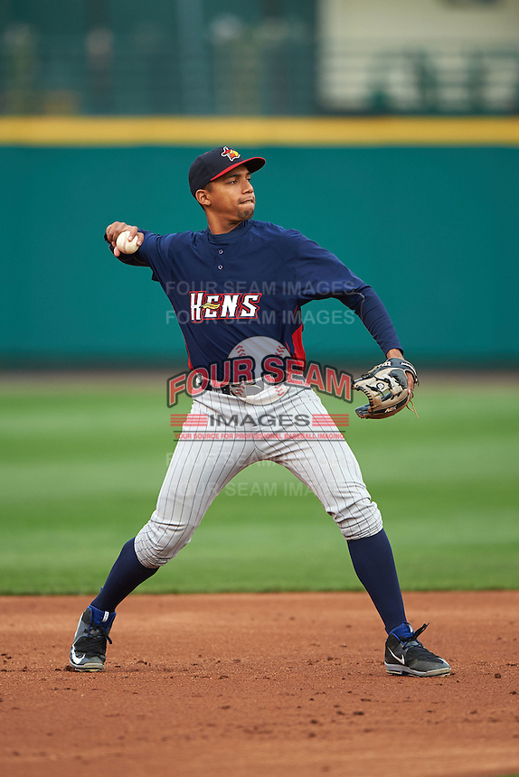 Toledo Mudhens shortstop Dixon Machado (28) warmup throw to first during a game against the Rochester Red Wings on May 12, 2015 at Frontier Field in Rochester, New York.  Toledo defeated Rochester 8-0.  (Mike Janes/Four Seam Images)