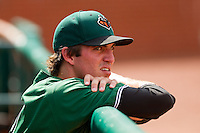 Mason McVay (39) of the Augusta GreenJackets watches the action from the dugout during the South Atlantic League game against the Greensboro Grasshoppers at NewBridge Bank Park on August 11, 2013 in Greensboro, North Carolina.  The GreenJackets defeated the Grasshoppers 6-5 in game one of a double-header.  (Brian Westerholt/Four Seam Images)