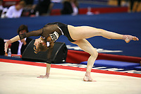 Oct 17, 2006; Aarhus, Denmark;  Maryna Proskurina of Ukraine performs on floor exercise during women's gymnastics team competition at 2006 World Championships Artistic Gymnastics.