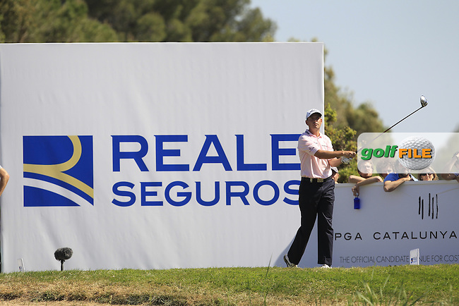 David Howell (ENG) on the 17th tee during Round 4 of the Open de Espana  in Club de Golf el Prat, Barcelona on Sunday 17th May 2015.<br /> Picture:  Thos Caffrey / www.golffile.ie