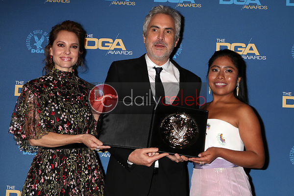 Marina de Tavira, Alfonso Cuaron, Yalitza Aparicio<br /> at the 71st Annual Directors Guild Of America Awards Press Room, Dolby Ballroom, Hollywood, CA 02-02-19<br /> David Edwards/DailyCeleb.com 818-249-4998