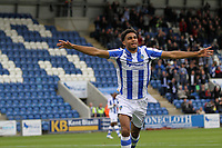 Mikael Mandron of Colchester United celebrates getting the second goal of the game during Colchester United vs Mansfield Town, Sky Bet EFL League 2 Football at the Weston Homes Community Stadium on 7th October 2017