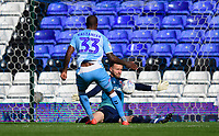 Blackpool's Jak Alnwick saves from Coventry City's Gervane Kastaneer<br /> <br /> Photographer Chris Vaughan/CameraSport<br /> <br /> The EFL Sky Bet League One - Coventry City v Blackpool - Saturday 7th September 2019 - St Andrew's - Birmingham<br /> <br /> World Copyright © 2019 CameraSport. All rights reserved. 43 Linden Ave. Countesthorpe. Leicester. England. LE8 5PG - Tel: +44 (0) 116 277 4147 - admin@camerasport.com - www.camerasport.com