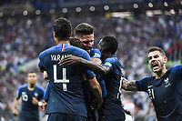 Team France celebrate a goal during the World Cup Final match between France and Croatia at Luzhniki Stadium on July 15, 2018 in Moscow, Russia. (Photo by Anthony Dibon/Icon Sport)