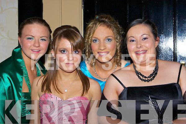FRIENDS: Fiona Griffin (Ballymacelligott) Grace Gato (Ballymacelligott), Bri?d O'Shea (Farranfore) and Ellie Coffey (Gortallea) who had  a fantastic night at St Joseph's School, Castleisland Debs in the Abbey Gate Hotel, Tralee on Friday night. .................... ..............................   Copyright Kerry's Eye 2008