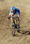 October 17, 2015 - Boulder, Colorado, U.S. - Elite cyclist, Georgia Gould, is all concentration on the way down a difficult decent during the U.S. Open of Cyclocross, Valmont Bike Park, Boulder, Colorado.