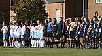 24 November 2007: Starters from both teams, as well as the match officials, during the playing of the national anthem. The University of Notre Dame Fighting Irish defeated University of North Carolina Tar Heels 3-2 at Fetzer Field in Chapel Hill, North Carolina in a Third Round NCAA Division I Womens Soccer Tournament game.
