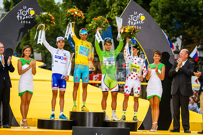 Vincenzo Nibali, Astana Pro Team, Peter Sagan, Cannondale Pro Cycling, Rafal Majka, Tinkoff-Saxo, Thibaut Pinot, FDJ, Tour de France, Stage 21: Évry > Paris Champs-Élysées, UCI WorldTour, 2.UWT, Paris Champs-Élysées, France, 27th July 2014, Photo by Thomas van Bracht