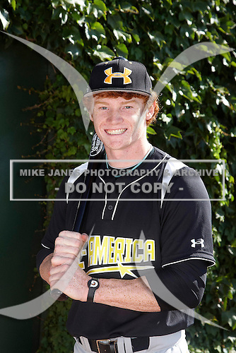 Outfielder Clint Frazier (19) poses for a photo before the Under Armour All-American Game at Wrigley Field on August 18, 2012 in Chicago, Illinois.  (Copyright Mike Janes Photography)
