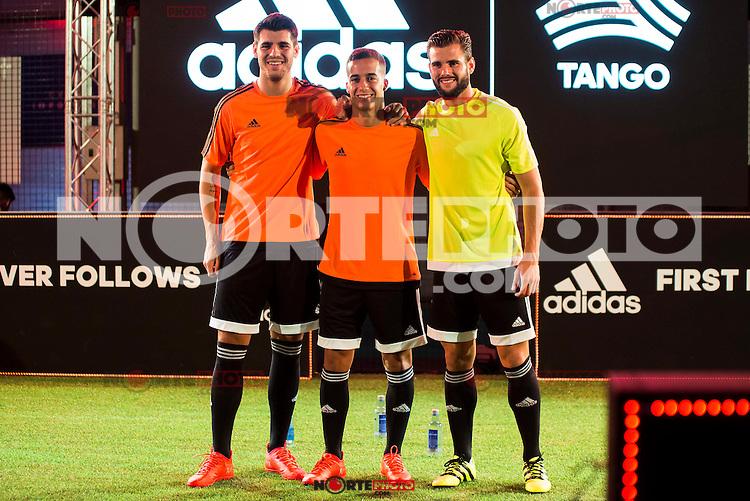 "Real Madrid players Alvaro Morata, Lucas Vazquez and Nacho Fernandez during the presentation of the new pack of Adidas football shoes ""Speed of Light"" in Madrid. September 16, 2016. (ALTERPHOTOS/Borja B.Hojas) /NORTEPHOTO"