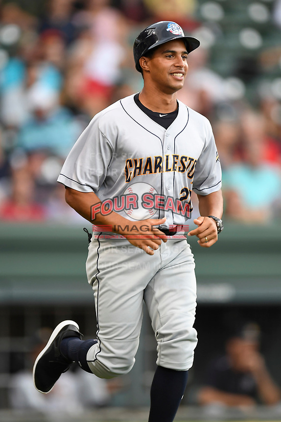 Coach Jose Javier (20) of the Charleston RiverDogs in a game against the Greenville Drive on Friday, July 28, 2017, at Fluor Field at the West End in Greenville, South Carolina. Charleston won, 6-1. (Tom Priddy/Four Seam Images)