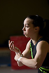 Champion British gymnast Beth Tweddle, pictured training at a gym in Toxteth, Liverpool. Beth was training for the forthcoming world championships and the 2008 Olympic games in Beijing.