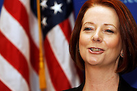Australian Prime Minister Julia Gillard reacts during a press conference at the New York Stock Exchange during her visit to the United States. pic by Trevor Collens.