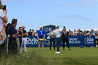 Niall Horan (AM) on the 2nd tee during the Pro-Am of the Irish Open at LaHinch Golf Club, LaHinch, Co. Clare on Wednesday 3rd July 2019.<br /> Picture:  Thos Caffrey / Golffile<br /> <br /> All photos usage must carry mandatory copyright credit (© Golffile | Thos Caffrey)