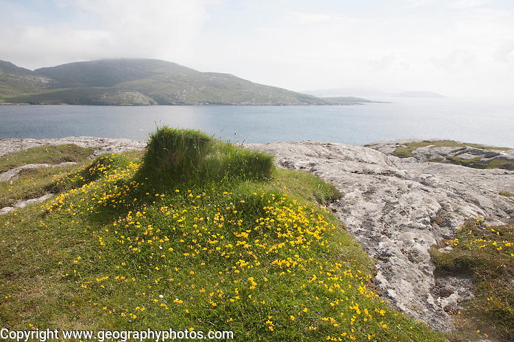 View to island of Sandray, South Bay, Vatersay island, Barra, Outer Hebrides, Scotland, UK