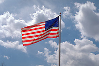 US Flag blowing in the wind. Dunning Field St Paul Minnesota USA