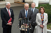 United States Senate Minority Leader Chuck Schumer (Democrat of New York) speaks to reporters at the White House after meeting with US President Donald J. Trump on border security and reopening the federal government at the White House in Washington, DC on Wednesday, January 2, 2018.  Pictured from left to right: Incoming US House Majority Leader Steny Hoyer (Democrat of Maryland); leader Schumer; US Senator Dick Durbin (Republican of Illinois) and incoming Speaker of the US House of Representatives Nancy Pelosi (Democrat of California).<br /> Credit: Ron Sachs / CNP