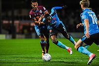 Fleetwood Town's defender Amari'i Bell (3) goes down on the edge of the box during the Sky Bet League 1 match between Scunthorpe United and Fleetwood Town at Glanford Park, Scunthorpe, England on 17 October 2017. Photo by Stephen Buckley/PRiME Media Images