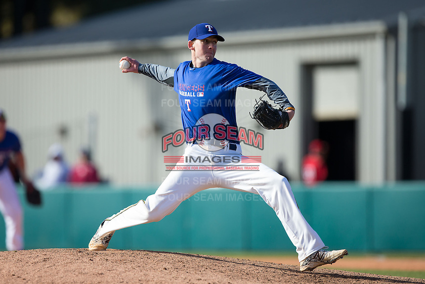 Tim Salvadore (20) of Philips Academy in Andover, Massachusetts playing for the Texas Rangers scout team at the South Atlantic Border Battle at Doak Field on November 2, 2014.  (Brian Westerholt/Four Seam Images)