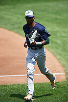 Vermont Lake Monsters center fielder James Terrell (1) jogs to the dugout during a game against the Auburn Doubledays on July 13, 2016 at Falcon Park in Auburn, New York.  Auburn defeated Vermont 8-4.  (Mike Janes/Four Seam Images)