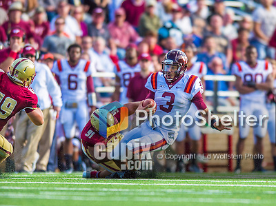 2 November 2013: Virginia Tech Hokies quarterback Logan Thomas (3) scrambles for yardage in the fourth quarter against the Boston College Eagles at Alumni Stadium in Chestnut Hill, MA. The Eagles defeated the Hokies 34-27. Mandatory Credit: Ed Wolfstein-USA TODAY Sports *** RAW (NEF) Image File Available ***