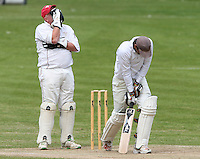 Abdul Rahman of Harold Wood in batting action has a close call and Hornchurch wicket keeper Paul Murray cannot believe it  - Harold Wood Cricket Club vs Hornchurch Cricket Club at Harold Wood 10/05/09 - MANDATORY CREDIT: Rob Newell/TGSPHOTO - IMAGES USED WILL BE INVOICED AT STANDARD RATES. Gavin Ellis/TGSPHOTO, 27 Plaiters Way, Braintree, Essex CM7 3LR - Tel: 0845 0946026 - BACS details for payment: Gavin Ellis - A/C 31840312 Sort Code 40-17-08. NO UNPAID USE..