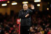 Barbarians head coach Warren Gatland waves at the welsh fans during the International friendly match between Wales and Barbarians at the Principality Stadium in Cardiff, Wales, UK. Saturday 30 November 2019.