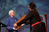 Bruce Pulman from HEB Construction presents Valerie Vili with the Supreme Award at the Counties Manukau Sport 17th annual Sporting Excellence Awards held at the Telstra Clear Pacific Events Centre, Manukau City, on November 27th 2008.