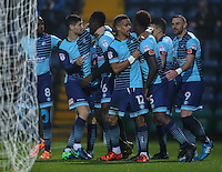 Aaron Pierre of Wycombe Wanderers (3rd left) celebrates after he scores the opening goal of the game during the Sky Bet League 2 match between Wycombe Wanderers and Morecambe at Adams Park, High Wycombe, England on 12 November 2016. Photo by David Horn.