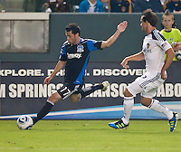 CARSON, CA – August 20, 2011: San Jose Earthquake midfielder Joey Gjertsen (17) during the match between LA Galaxy and San Jose Earthquakes at the Home Depot Center in Carson, California. Final score LA Galaxy 2, San Jose Earthquakes 0.