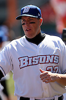 April 14, 2010:  Mike Hessman of the Buffalo Bisons during introductions before a game at Coca-Cola Field in Buffalo, New York.  The Bisons are the Triple-A International League affiliate of the New York Mets.  Photo By Mike Janes/Four Seam Images