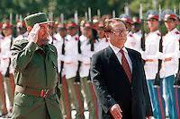 "The President of China Jiang Zemin (R) was received today by Cuban President Fidel Castro (L), in the ""Palace of the Revolution"". Zemin carries out an official visit to Cuba of three days. April 9, 2001. Credit: Jorge Rey/MediaPunch"