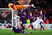30th January 2019, Camp Nou, Barcelona, Spain; Copa del Rey football, quarter final, second leg, Barcelona versus Sevilla; Luis Suarez of FC Barcelona is fouled by Carrico fo Sevilla CF