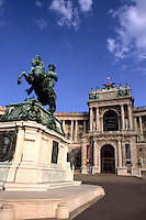 Beautiful roof ornaments and General Eugen at Hofburg Imperial Palace of Vienna Austria