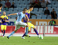 Thursday 08 August 2013<br /> Pictured L-R: Erdal Rakip challenging Ki Sung Yueng of Swansea <br /> Re: Malmo FF v Swansea City FC, UEFA Europa League 3rd Qualifying Round, Second Leg, at the Swedbank Stadium, Malmo, Sweden.